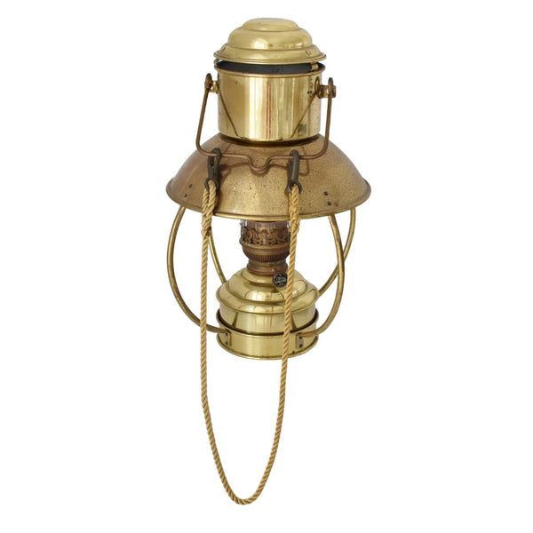 Vintage Brass Trawler Lantern DHR Den Haan w Ideal 20 Burner - Premier Estate Gallery 1