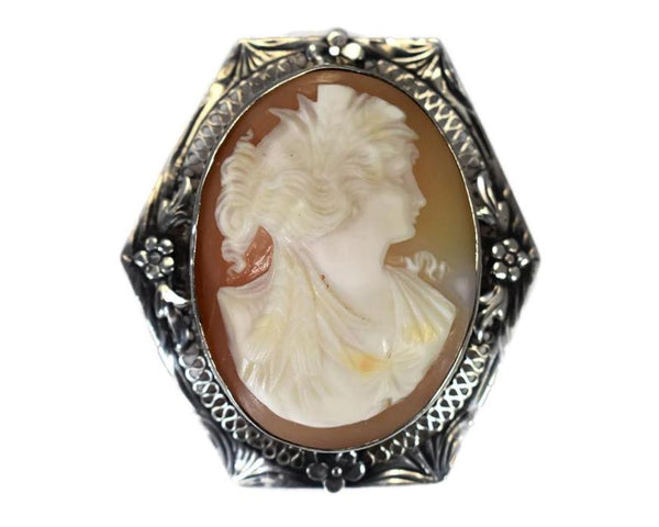 Sterling Silver Cameo Goddess Ceres Filigree Flower Setting c1920s - Premier Estate Gallery