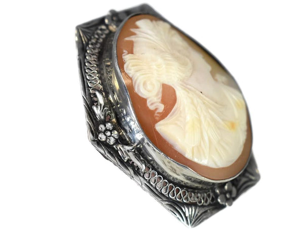 Sterling Silver Cameo Goddess Ceres Filigree Flower Setting c1920s - Premier Estate Gallery 3
