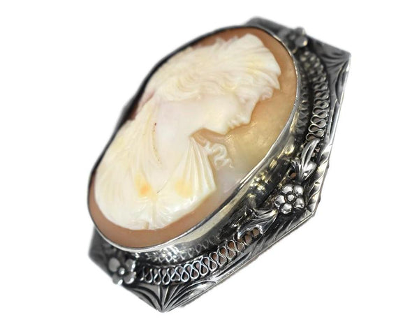 Sterling Silver Cameo Goddess Ceres Filigree Flower Setting c1920s - Premier Estate Gallery 5