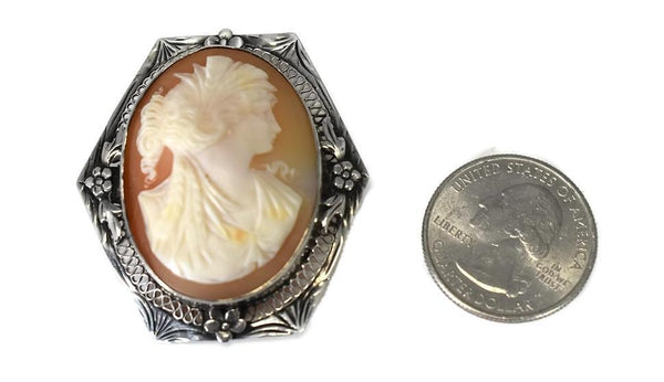 Sterling Silver Cameo Goddess Ceres Filigree Flower Setting c1920s