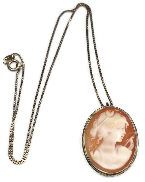 Sterling Goddess Diana Cameo Brooch Pendant with Chain c1977