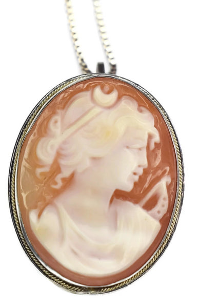 Sterling Goddess Diana Cameo Brooch Pendant with Chain c1977 - Premier Estate Gallery 2