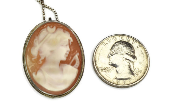 Sterling Goddess Diana Cameo Brooch Pendant with Chain c1977 - Premier Estate Gallery 4