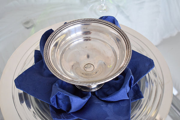 Sterling Silver Small Pedestal Bowl Compote Fancy Edge