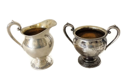 Heirloom Damask Rose Creamer Sugar Set Sterling Silver Oneida Vintage - Premier Estate Gallery