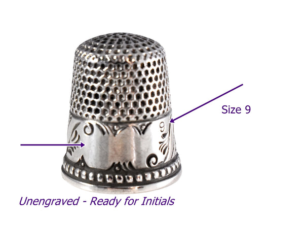 Antique Silver Thimble Ketchum & McDougall Unengraved Sterling Fan Design