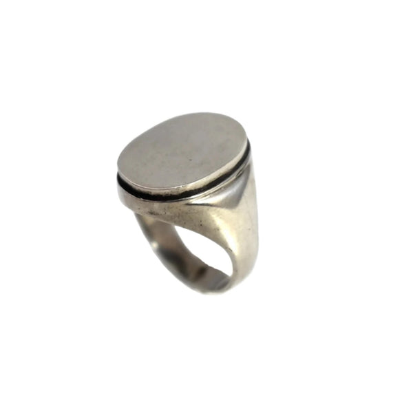 1950s European Silver Men's Signet Ring Ready for Engraving Initials - Premier Estate Gallery  1