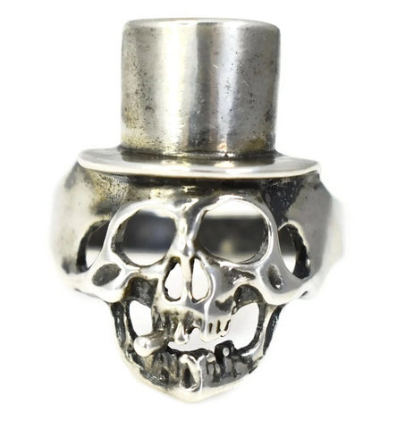 Vintage Silver Skull in Top Hat Men's Ring c1970 - Premier Estate Gallery