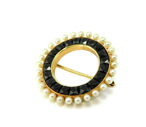 Antique Victorian Wedding Brooch 14k Gold Pearl Onyx - Premier Estate Gallery  - 1