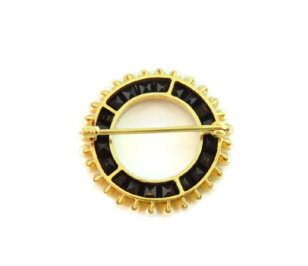 Antique Victorian Wedding Brooch 14k Gold Pearl Onyx - Premier Estate Gallery  - 4