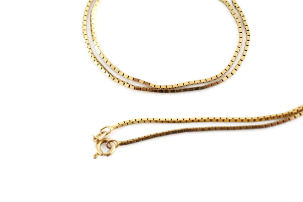 14k Gold Box Chain Italy Vintage c1970s