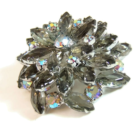 50s AB Rhinestone Layered Brooch Lotus Iridescent Smoke - Premier Estate Gallery  - 1