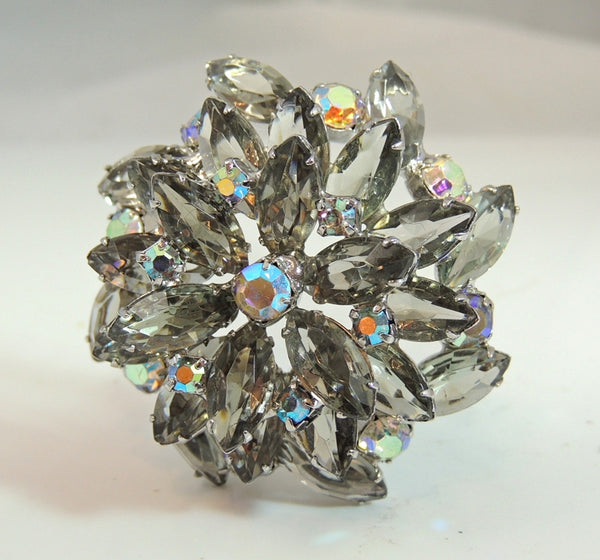 50s AB Rhinestone Layered Brooch Lotus Iridescent Smoke - Premier Estate Gallery  - 3