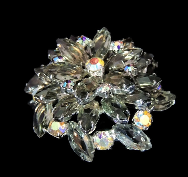 50s AB Rhinestone Layered Brooch Lotus Iridescent Smoke - Premier Estate Gallery  - 2