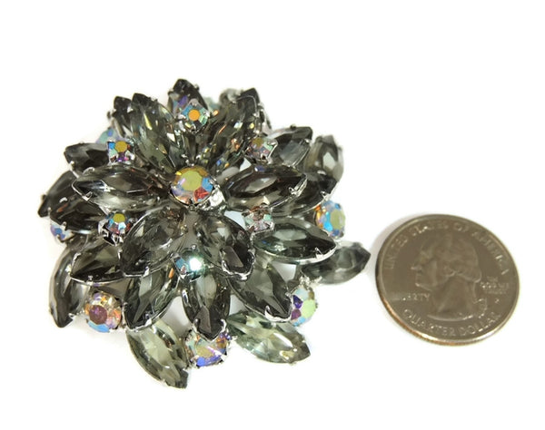 50s AB Rhinestone Layered Brooch Lotus Iridescent Smoke - Premier Estate Gallery  - 4