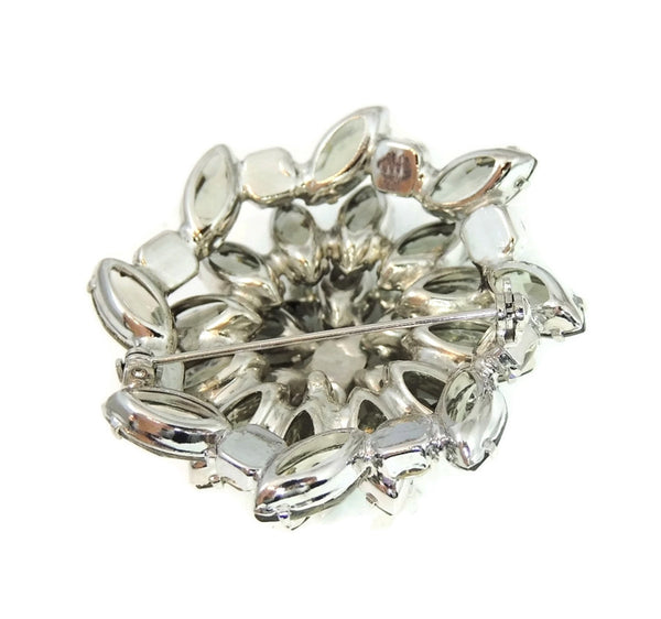 50s AB Rhinestone Layered Brooch Lotus Iridescent Smoke