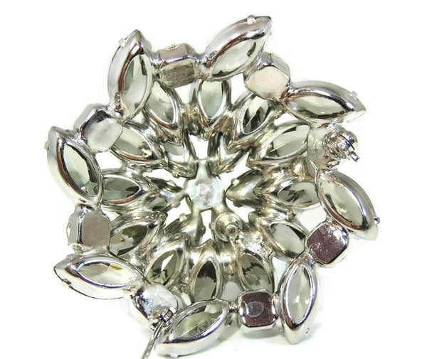 50s AB Rhinestone Layered Brooch Lotus Iridescent Smoke - Premier Estate Gallery  - 6