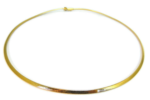 14k Gold Omega Chain Necklace Choker 3mm - Premier Estate Gallery  - 1