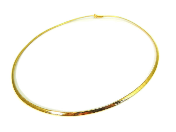 14k Gold Omega Chain Necklace Choker 3mm - Premier Estate Gallery  - 3