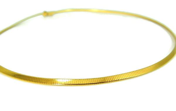 14k Gold Omega Chain Necklace Choker 3mm - Premier Estate Gallery  - 2