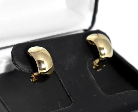 Classic 14k Gold Small Huggy Hoop Earrings Wider Style - Premier Estate Gallery