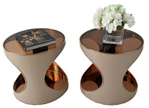 Aico Michael Anini Solar Eclipse Chair Side Tables X2 Rose Gold - Premier Estate Gallery 2