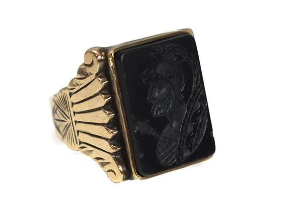 1950s Men's 10k Roman Soldier Onyx Ring Heavy Gold Setting Vintage - Premier Estate Gallery 1