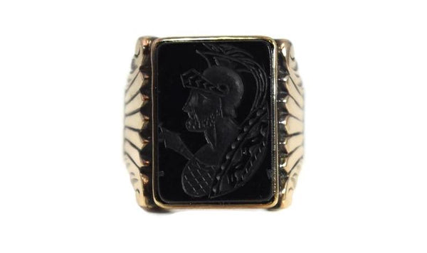 1950s Men's 10k Roman Soldier Onyx Ring Heavy Gold Setting Vintage - Premier Estate Gallery 2