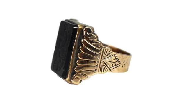 1950s Men's 10k Roman Soldier Onyx Ring Heavy Gold Setting Vintage - Premier Estate Gallery 3