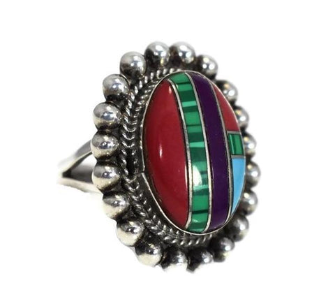 Southwestern Sterling Silver Inlaid Gemstone Ring Boho Style c1970s - Premier Estate Gallery