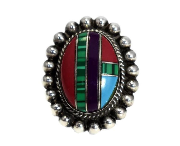 Southwestern Sterling Silver Inlaid Gemstone Ring Boho Style c1970s - Premier Estate Gallery 2