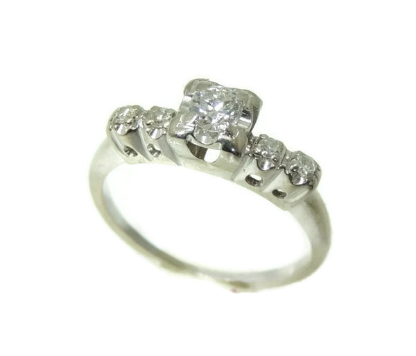14k Vintage Diamond Engagement Ring White Gold .34 ctw VS1