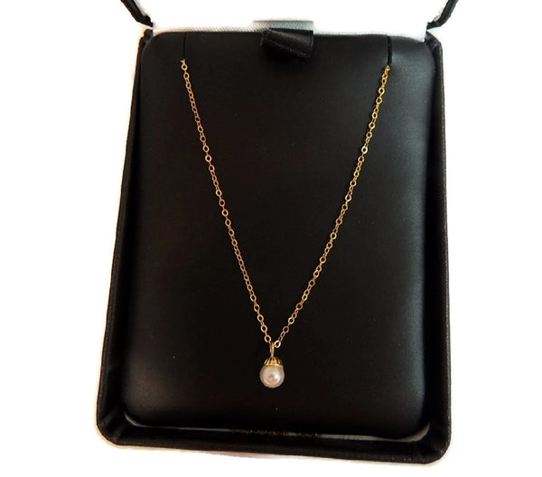 14k Gold Solitaire Cultured Pearl Necklace 5mm Vintage - Premier Estate Gallery  - 3