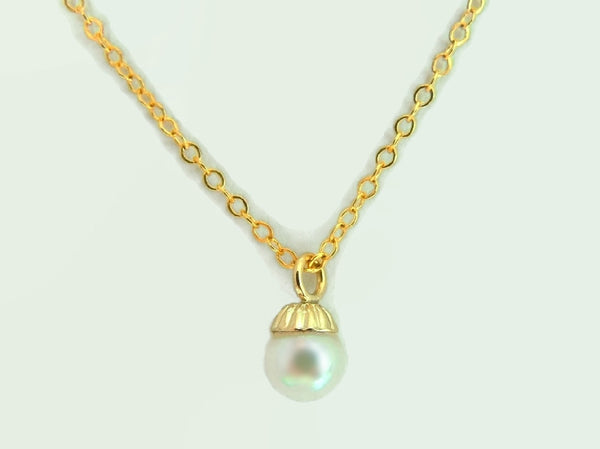 14k Gold Solitaire Cultured Pearl Necklace 5mm Vintage - Premier Estate Gallery  - 2