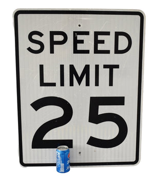 Authentic Big Road Sign 25 mph Speed Limit 30X24 inch Reflective Industrial Man Cave - Premier Estate Gallery 1