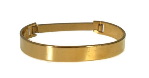1970s Gold Plate Speidel ID Bracelet Hinged Cuff Great Vintage Style Orig Box - Premier Estate Gallery