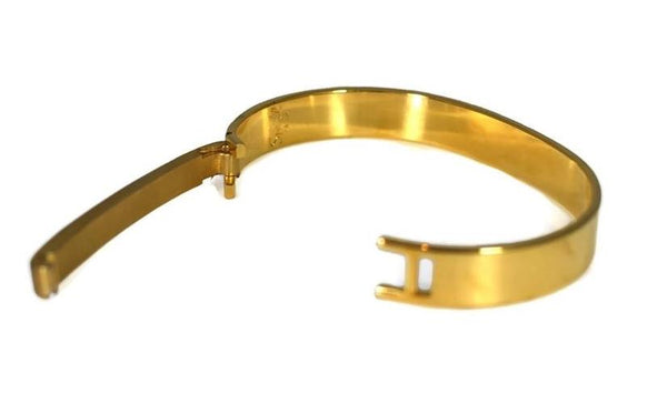 1970s Gold Plate Speidel ID Bracelet Hinged Cuff Great Vintage Style Orig Box