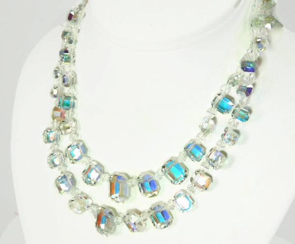 1950s Crystal Bead Choker Necklace Emerald Cut Iridescent Wedding Vintage - Premier Estate Gallery  - 2