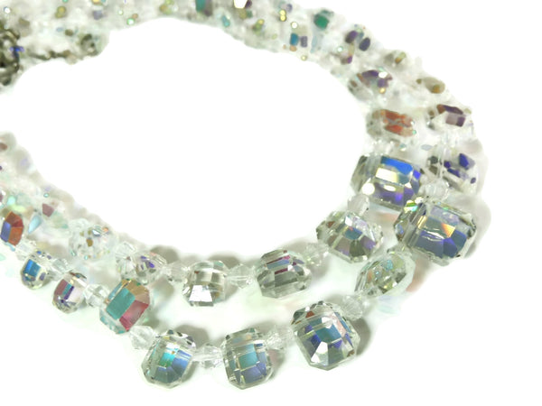 1950s Crystal Bead Choker Necklace Emerald Cut Iridescent Wedding Vintage - Premier Estate Gallery  - 3