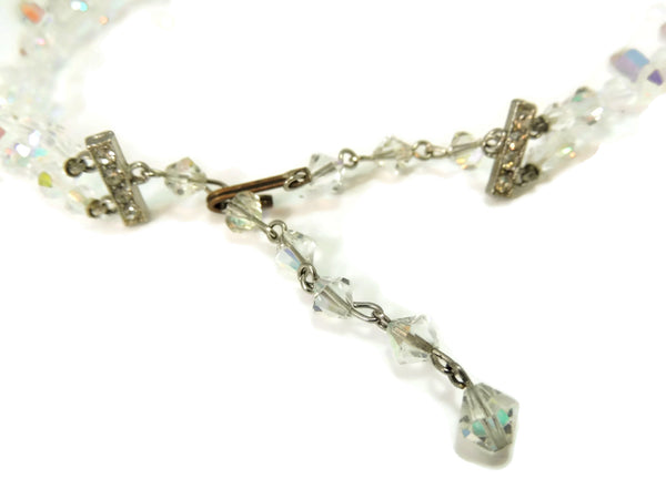 1950s Crystal Bead Choker Necklace Emerald Cut Iridescent Wedding Vintage - Premier Estate Gallery  - 4