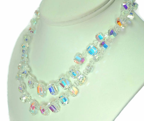 1950s Crystal Bead Choker Necklace Emerald Cut Iridescent Wedding Vintage - Premier Estate Gallery  - 1
