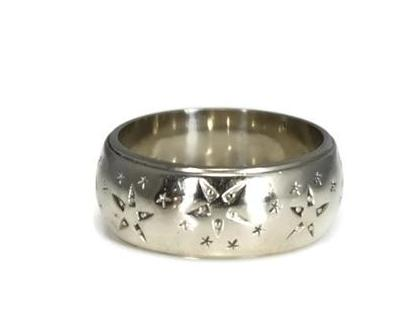Vintage 14k White Gold Star Etched Wedding Band MCM Wide Band - Premier Estate Gallery