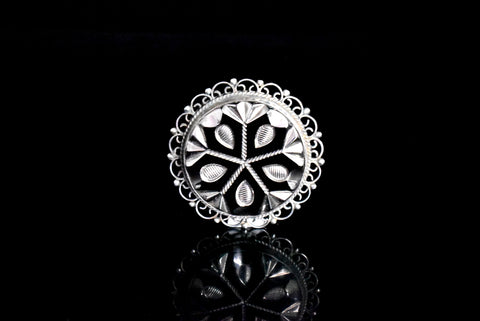 Mexican Sterling Silver Cut Glass Brooch with Enameling c1950 - Premier Estate Gallery