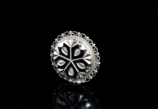 Mexican Sterling Silver Cut Glass Brooch with Enameling c1950 - Premier Estate Gallery 1