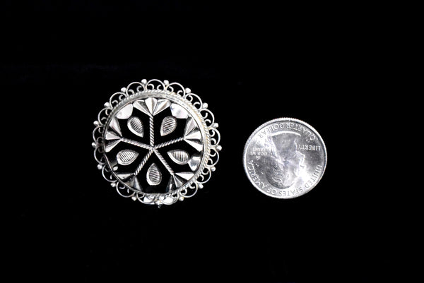 Mexican Sterling Silver Cut Glass Brooch with Enameling c1950 - Premier Estate Gallery 3