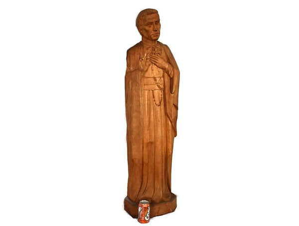 Catholic Saint John Neumann Vintage Wood Carved Statue 4 Feet Tall - Premier Estate Gallery 2