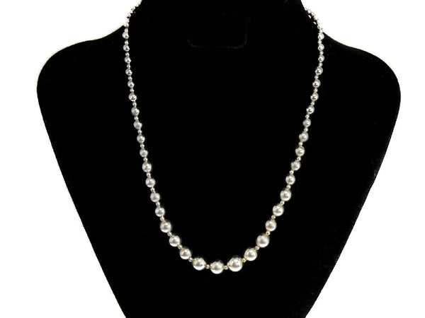 Silver Bead Necklace Graduated Sterling Silver Beads - Premier Estate Gallery  - 5