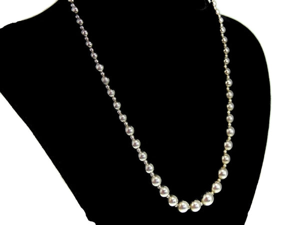 Silver Bead Necklace Graduated Sterling Silver Beads - Premier Estate Gallery  - 2