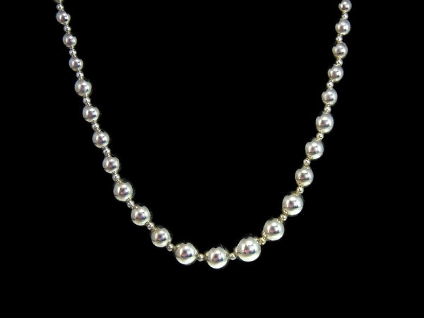 Silver Bead Necklace Graduated Sterling Silver Beads - Premier Estate Gallery  - 4
